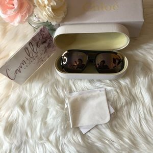Chloe Accessories - Chloe brown and gold sunglasses, case, box